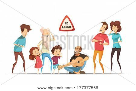 Hilarious funny family life moments with singing and laughing friends retro cartoon comic situation vector illustration