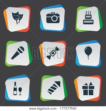Vector Illustration Set Of Simple Celebration Icons. Elements Ribbon, Confectionery, Salute And Other Synonyms Photography, Sweetmeat And Rocket. poster