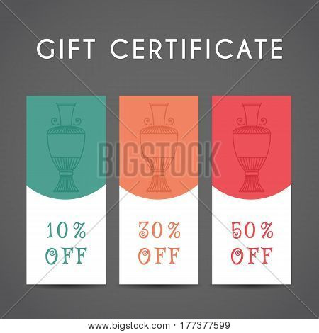 Ornamental discount coupon. Vector editable template with jug