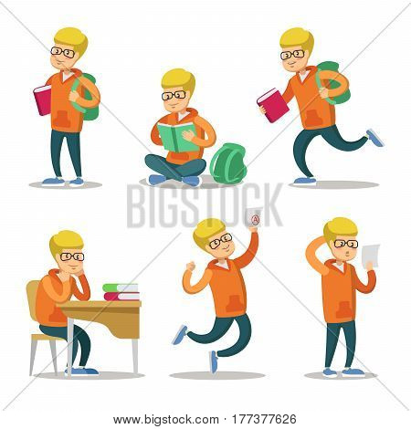 Cute Student Cartoon Character Set. Teenager with Book. Vector illustration