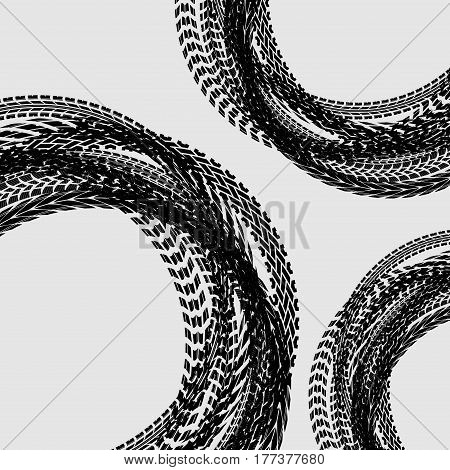 Different black circle tire tracks isolated on white background