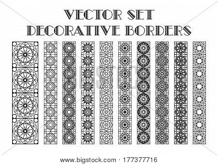 Design elements and page decoration. Vector set of borders isolated on white