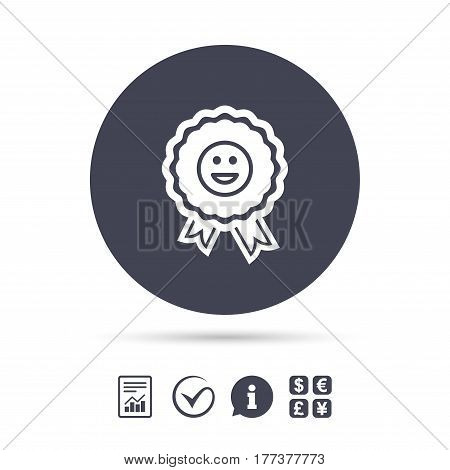 Award smile icon. Happy face medal symbol. Report document, information and check tick icons. Currency exchange. Vector