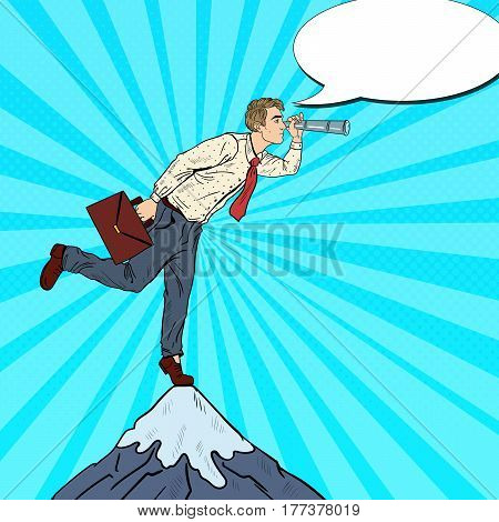 Pop Art Businessman with Spyglass on the Peak of the Mountain. Business Vision. Vector illustration