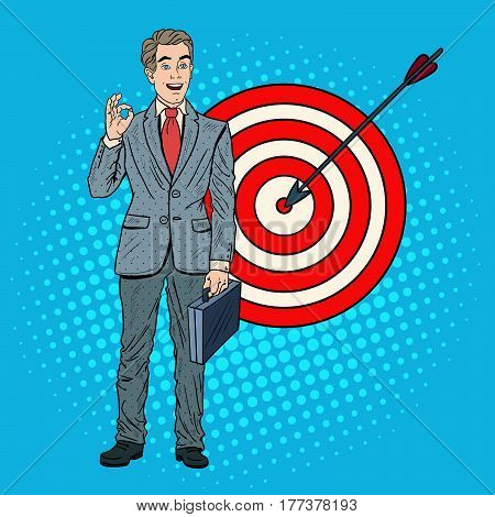 Pop Art Successful Businessman Achieved the Target. Business Success. Vector illustration