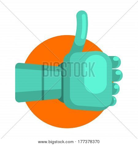 Metal Android Hand Showing Thumb Up, Part Of Futuristic Robotic And IT Science Series Of Cartoon Icons. Computer Technology Future Progress Illustration In Simple Bright Style With AI Bionic Objects.