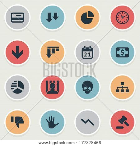 Vector Illustration Set Of Simple Crisis Icons. Elements Down Cursor, Info Graph, Descending And Other Synonyms Penitentiary, Pie And Court.