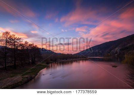 Colorful sky and clouds over Pancharevo Bulgaria.Beautiful sunset with red sky