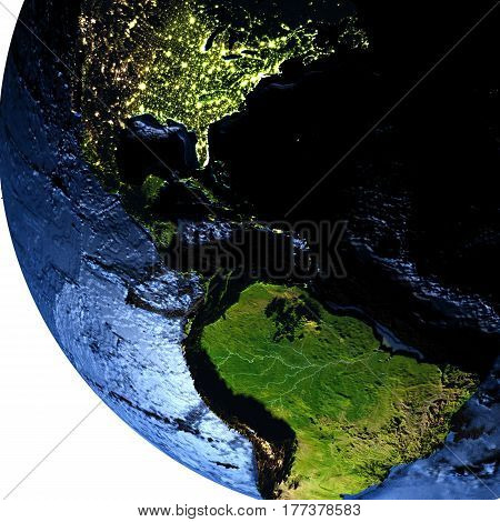 Central America On Earth At Night With Exaggerated Mountains