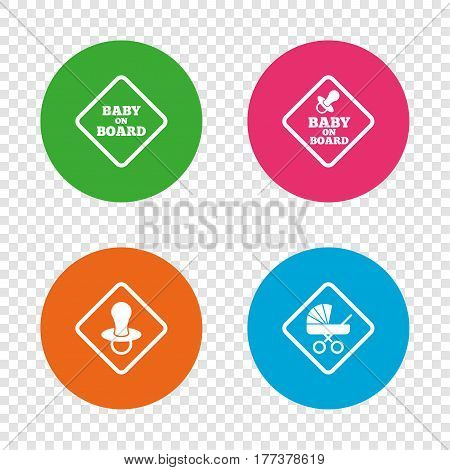 Baby on board icons. Infant caution signs. Child buggy carriage symbol. Round buttons on transparent background. Vector