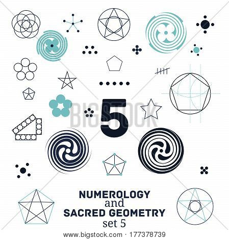 Sacred geometry and numerology symbols vector illustration. Set of number five. Design for meditation spiritual geometry