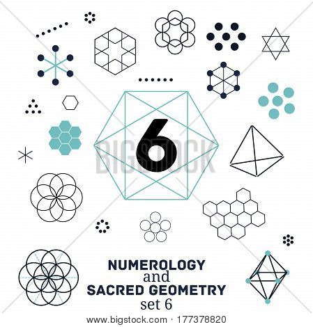 Sacred geometry and numerology symbols vector illustration. Set of number six. Design for meditation spiritual geometry