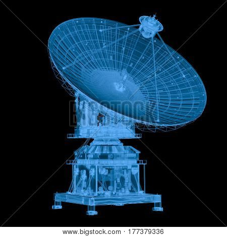 3d rendering x ray satellite isolated on black