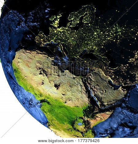 Emea Region On Earth At Night With Exaggerated Mountains