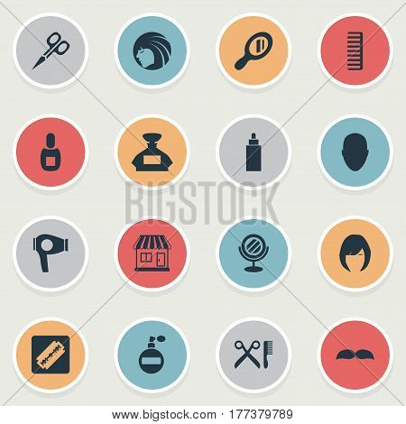 Vector Illustration Set Of Simple Beautician Icons. Elements Cut Tool, Peeper, Drying Machine And Other Synonyms Mustache, Hairdryer And Supermarket.