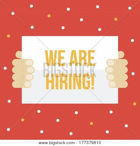 We are hiring. HR, recruitment vector flat design card template.