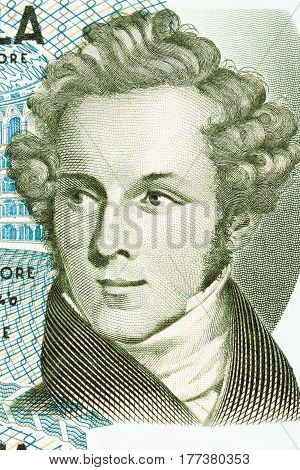 Vincenzo Bellini portrait from Italian money - 5000 lire