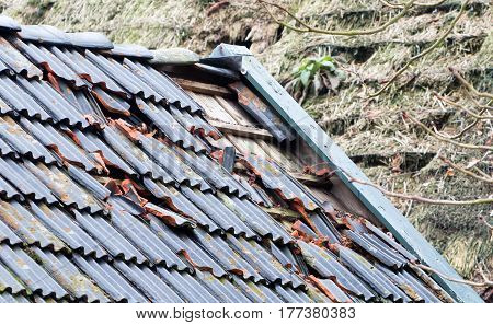 Broken Roof Of An Abandoned Farm