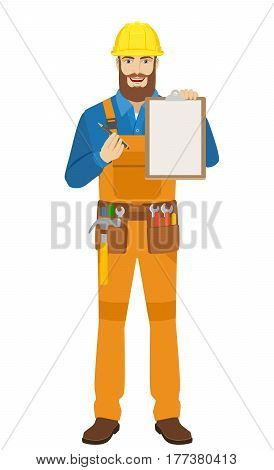 Worker giving pen for your signature on clipboard. Full length portrait of worker in a flat style. Vector illustration.