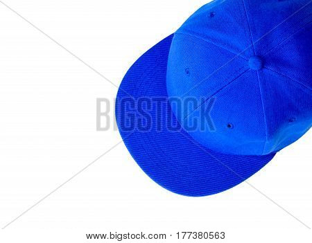 Blue baseball cap with blank space for insert text isolated on white background.