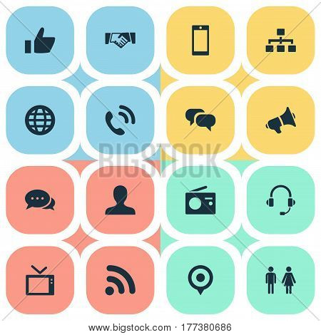 Vector Illustration Set Of Simple Transmission Icons. Elements Pin, Walkie, Partner And Other Synonyms Mobile, Talking And Contact.