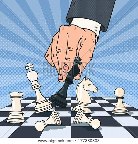 Pop Art Hand of Businessman Playing Chess. Business Strategy Concept. Vector illustration