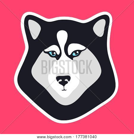Husky dog sticker. Black and white dog fase logo. Emblem for patch. Sign or icon for mobile apps. Creative vector illustration isolated on pink background