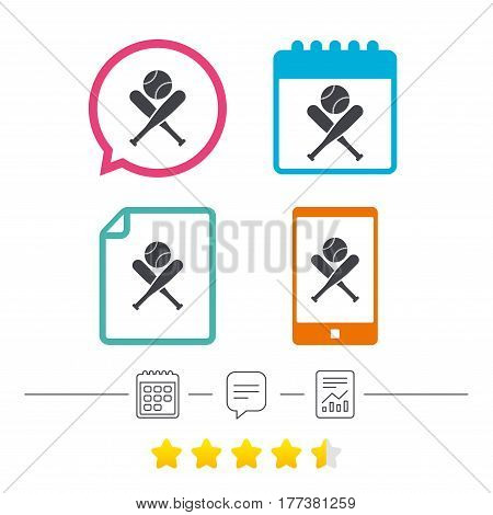 Baseball bats and ball sign icon. Sport hit equipment symbol. Calendar, chat speech bubble and report linear icons. Star vote ranking. Vector