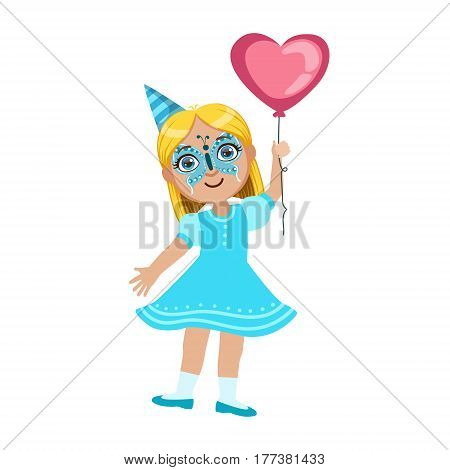 Girl In Butterfly Mask With Balloon, Part Of Kids At The Birthday Party Set Of Cute Cartoon Characters With Celebration Attributes. Adorable Child Celebrating And Partying , Vector Illustration Isolated On White Background.