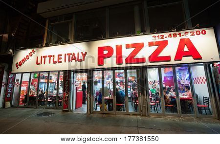 Famous Little Italy Pizza In Manhattan.