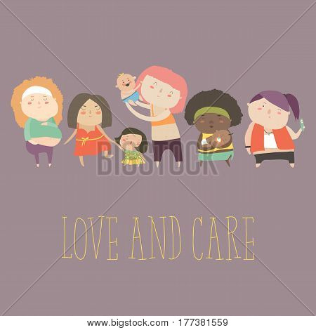 Pregnant woman and woman with newborn baby, mother and child. Vector characters in cartoon style