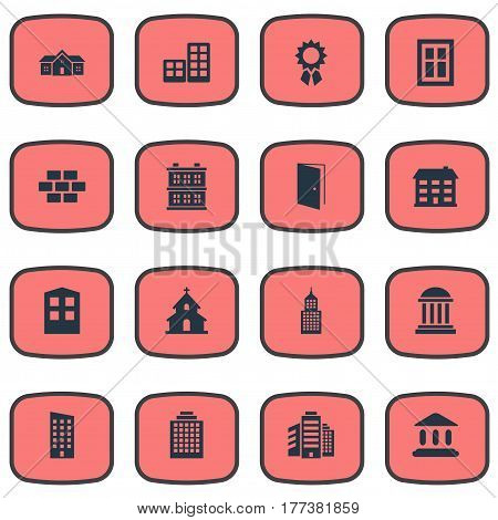 Vector Illustration Set Of Simple Structure Icons. Elements Popish, Offices, Structure And Other Synonyms Door, Reward And Flat.