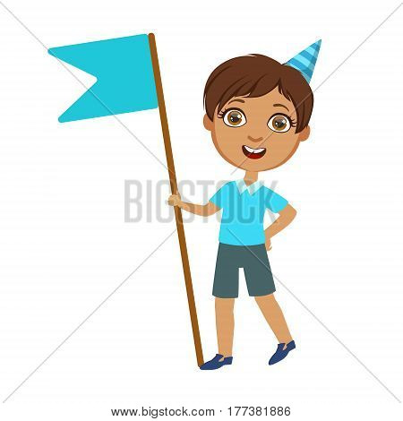 Boy With Giant Blue Flag, Part Of Kids At The Birthday Party Set Of Cute Cartoon Characters With Celebration Attributes. Adorable Child Celebrating And Partying , Vector Illustration Isolated On White Background.