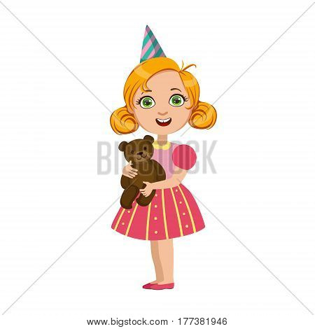 Girl With Teddy Bear, Part Of Kids At The Birthday Party Set Of Cute Cartoon Characters With Celebration Attributes. Adorable Child Celebrating And Partying , Vector Illustration Isolated On White Background.