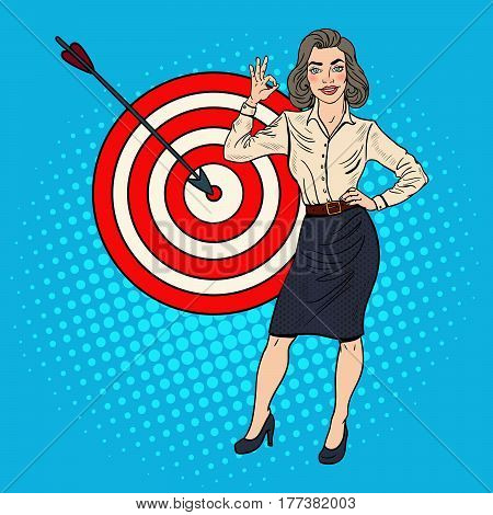 Pop Art Successful Businesswoman Achieved the Target. Business Success. Vector illustration