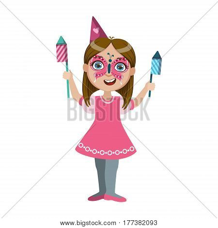 Girl In Butterfly Make Up With Fireworks, Part Of Kids At The Birthday Party Set Of Cute Cartoon Characters With Celebration Attributes. Adorable Child Celebrating And Partying , Vector Illustration Isolated On White Background.