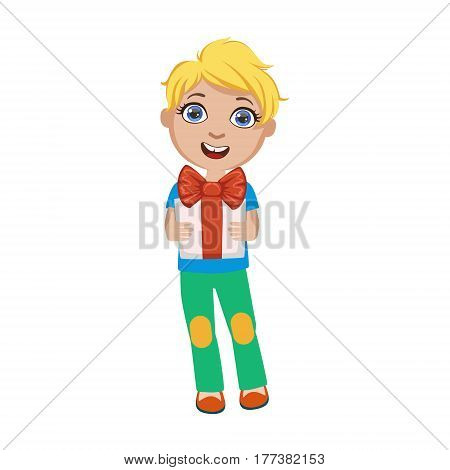 Boy Holding Present, Part Of Kids At The Birthday Party Set Of Cute Cartoon Characters With Celebration Attributes. Adorable Child Celebrating And Partying , Vector Illustration Isolated On White Background.