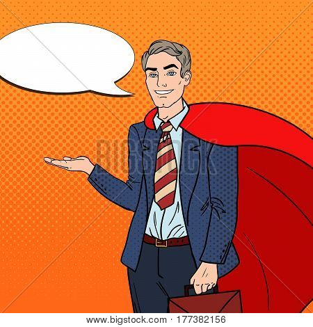 Pop Art Happy Super Businessman in Red Cape Pointing on Copy Space. Business Presentation. Vector illustration
