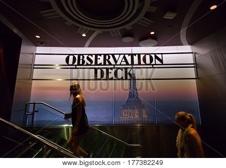 Observation Deck Sign Inside The Empire State Building