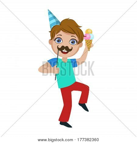 Boy With Ice-cream And Moustache, Part Of Kids At The Birthday Party Set Of Cute Cartoon Characters With Celebration Attributes. Adorable Child Celebrating And Partying , Vector Illustration Isolated On White Background.