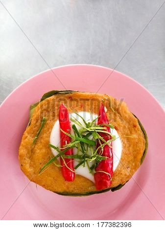 Steamed fish with curry paste Thai food.