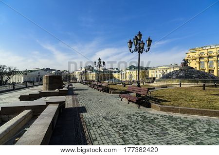 Moscow, Russia - March 12 2017: Manezhnaya Square