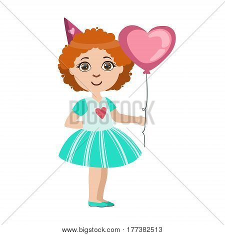 Girl With The Balloon, Part Of Kids At The Birthday Party Set Of Cute Cartoon Characters With Celebration Attributes. Adorable Child Celebrating And Partying , Vector Illustration Isolated On White Background.
