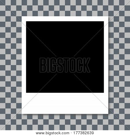 Photo Frame With Shadow. White Plastic Border. Transparent Checkerboard Background. Vector Illustrat