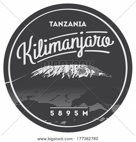 Mount Kilimanjaro in Africa, Tanzania outdoor adventure badge. Higest volcano on Earth. Climbing, trekking, hiking, mountaineering and other extreme activities logo template.