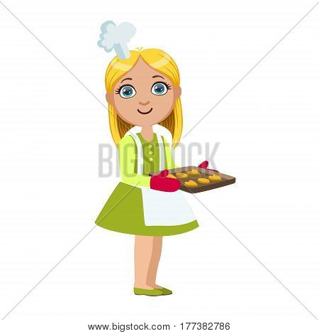 Girl With Tray Of Cookies, Cute Kid In Chief Toque Hat Cooking Food Vector Illustration. Young Child Wanting To Become A Cook In Cooking Class Smiling Cartoon Character.
