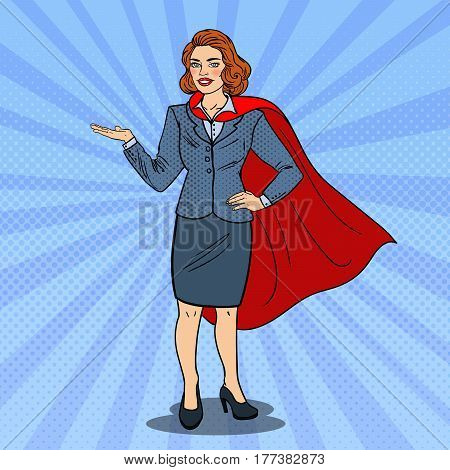 Pop Art Super Business Woman in Red Cape Pointing on Copy Space. Presentation. Vector illustration
