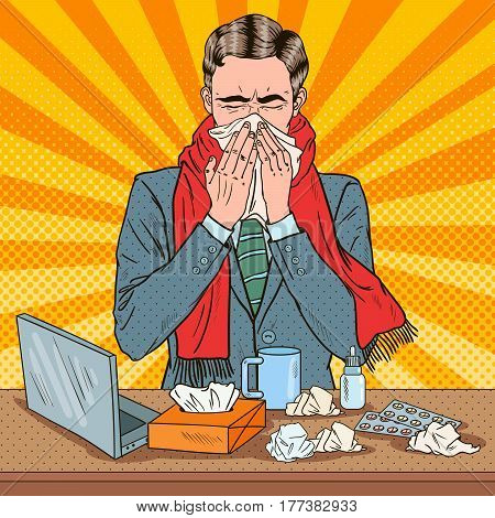 Pop Art Businessman Sneezing at Work. Man Blows His Nose. Vector illustration