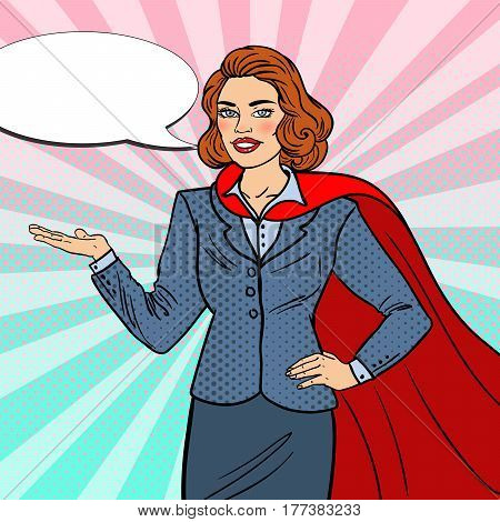 Pop Art Super Businesswoman in Red Cape Pointing on Copy Space. Presentation. Vector illustration