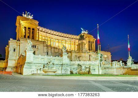 Rome Italy. Piazza Venezia Altar of the Fatherland (Altare della Patria) known as Vittoriano.